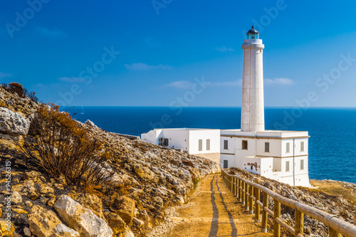 Fototapeten Leuchtturm The lighthouse of Cape of Otranto in Italy