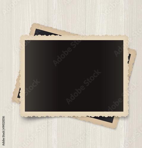 Obraz Vintage photo frames  on a wooden background - fototapety do salonu