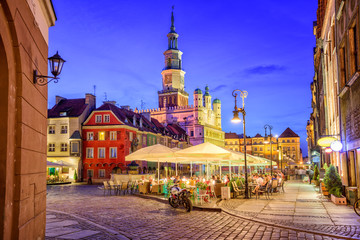 Main square of the old town of Poznan, Poland on a summer day ev