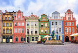 Colorful renaissance facades on the central market square in Poz