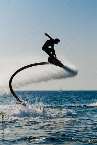 Poster Nautique motorise Silhouette of a hover board rider