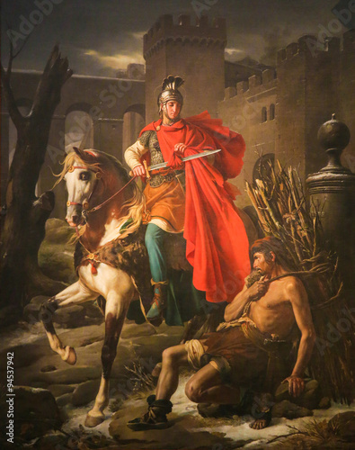 Fotografie, Obraz  Saint Martin odstřihne kousek svého pláště - malba v Tours Cathe