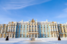 Catherine The Great Palace, Saint Petersburg, Tsarskoe Selo, Tourism And Travel, Destination For Tourists, Historic Building, Museum Reserve In The Town Of Pushkin,   XVIII-XIX Centuries, Winter.
