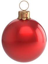 Christmas Ball New Year's Eve Bauble Red Wintertime Decoration Sphere Hanging Adornment Classic. Traditional Winter Holidays Home Ornament Merry Xmas Event Symbol Shiny Blank. 3d Render Isolated