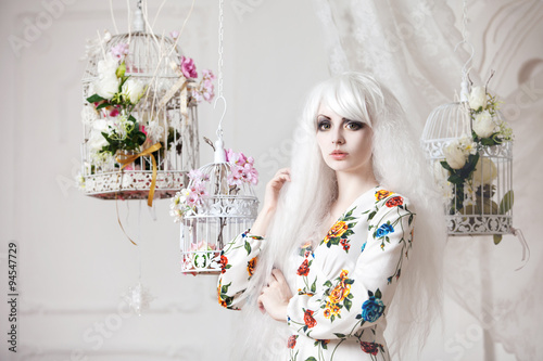 Fotografie, Obraz  Beautiful girl with white hair in  background of cells, puppet style, floral dec