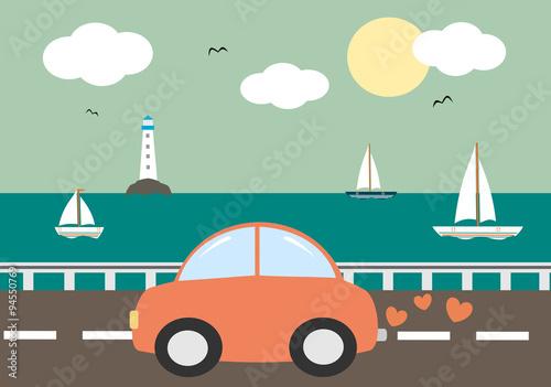Staande foto Cartoon cars cute cartoon red car driving on sea background vector illustration