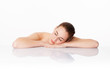 beautiful woman sleeping after cleansing, hydration and soothing skin treatment