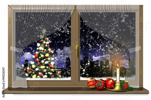 Decorazione Finestre Per Natale : Natale alla finestra 004 finestra con decorazione natalizia candela