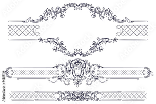 Luxury vector frame and border in rococo style Fotobehang