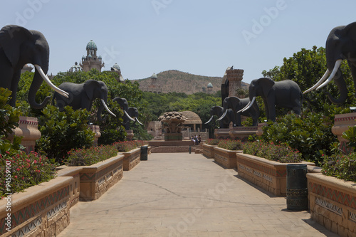 Foto op Canvas bridge with statues of elephants,in Sun City, South Africa