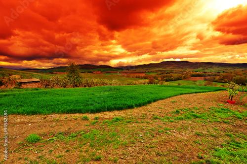 Papiers peints Orange eclat Tuscany at Sunset
