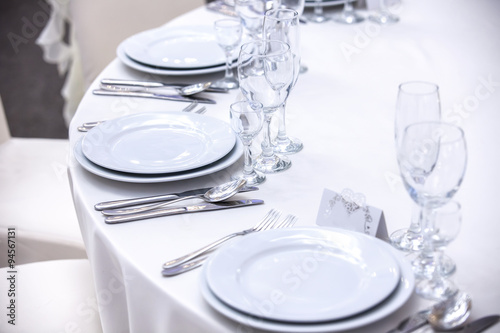 Vászonkép Elegant tables set up for a wedding banquet