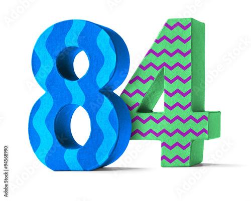 Fotografia  Bunte Zahl aus Pappe - Nummer 84