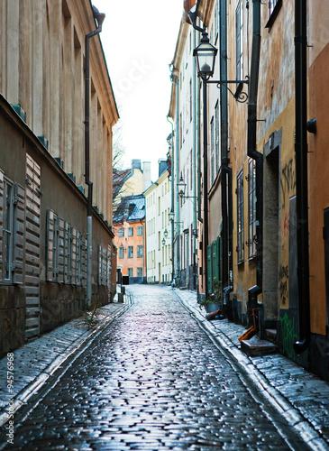 The street in Gamla Stan, Stockholm.