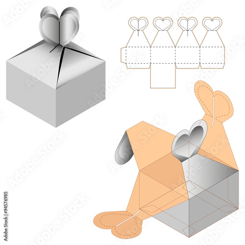 Gift Box Packaging Template White Cardboard Heart Shaped ...