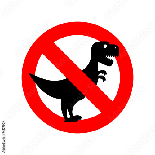 Photo  Stop Tyrannosaurus. Red is dangerous. Evil and scary t-Rex dinos