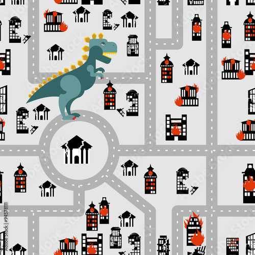 Cotton fabric Aggressive dinosaur destroys urban building seamless pattern. An