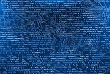 Software Developer Programming Code. Abstract Modern Virtual Computer Script. Work Of Software Developer Programmer On Desktop Screen Closeup. Online Internet Cyberspace Reality Concept Background