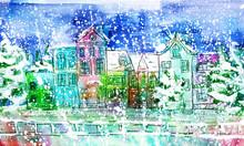 Watercolor Winter City
