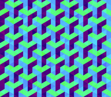 Vector Seamless Isometric Hexagonal Cube Pattern In Blue Lime And Purple