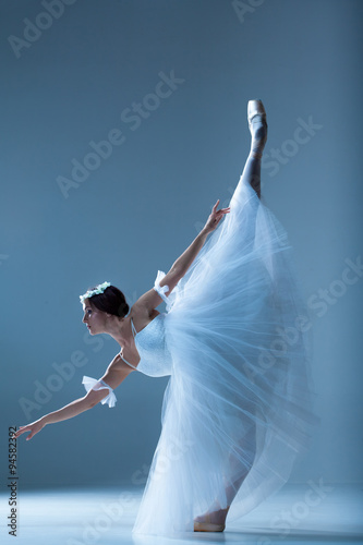 Stampa su Tela Portrait of the ballerina on blue background