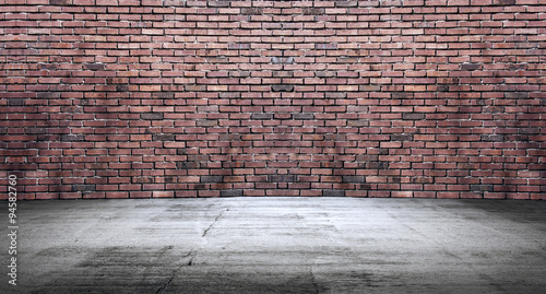 Foto op Plexiglas Wand Concrete floor with old red brick wall, empty room