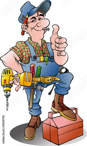 Vector cartoon illustration of a handyman