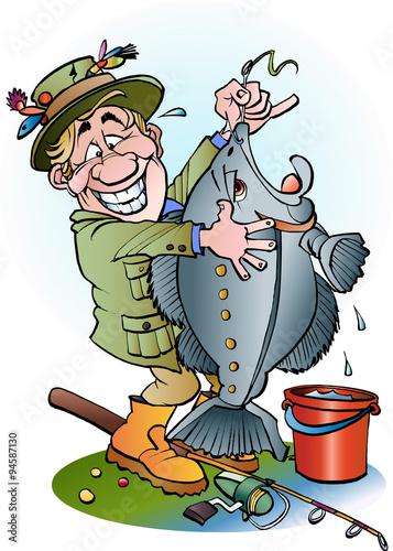 Fotografía Vector cartoon illustration of a happy angler