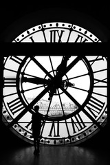 The Orsay museum (Musee d'Orsay) clock in black & white, Paris,