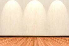 Empty Room Background With Wooden Floor Cream Or Beige Wallpaper And Spotlight.