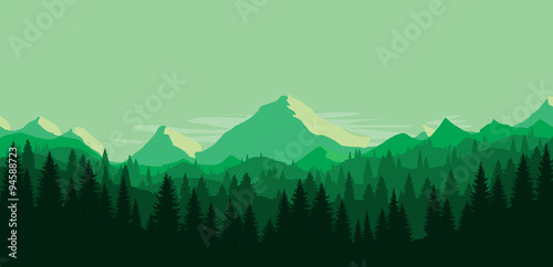 the highest top hill with the slow life behind the pine and trees Canvas Print