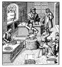 Vintage Engraving, Medieval Coinage Workshop