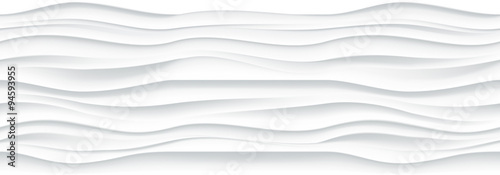 Tuinposter Abstract wave White wavy panel seamless texture background.