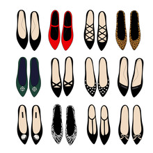 Fashion Shoes Set Illustration. Varied Fashion Shoes Design Collection. Stylish Vector Illustration. Trendy Fashion Shoes. Set Of 12 Pairs Of Shoes. Choose Your Favorite.
