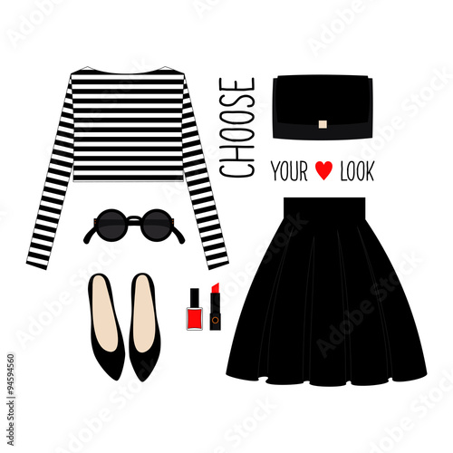 ca54a0ad6 Fashion Illustration. Casual outfit. Woman modern clothing flat set. Stylish  and trendy clothing. Casual look with cropped singlet, skirt, black shoes  and ...
