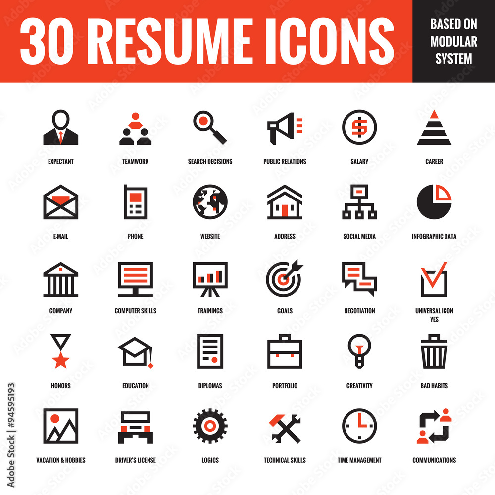 30 Resume Creative Vector Icons Based On Modular System Foto Poster Wandbilder Bei EuroPosters