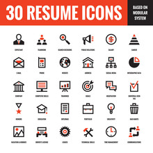 30 Resume Creative Vector Icons Based On Modular System. Set Of 30 Business Concept Vector Icons For Resume, Presentation, Website And Other Design And Business Project. Design Elements.