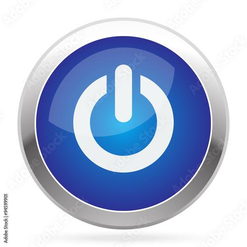Poster  White Power-Symbol auf blauem Web-app-Taste