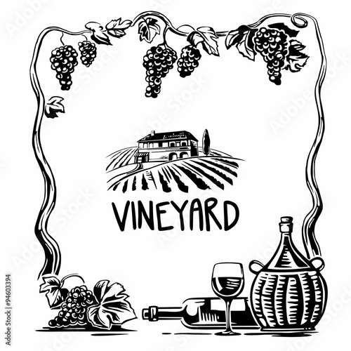 Rural landscape with villa and vineyard fields. Bunch of grapes, a bottle, a glass and a jug of wine. Black and white vintage vector square illustration for label, poster, web, icon.