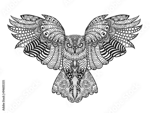 Spoed Foto op Canvas Uilen cartoon Zentangle stylized eagle owl.