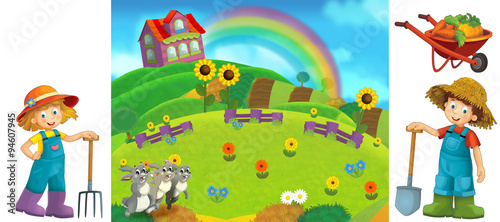 Cartoon farm scene with isolated elements for individual composition - illustration for the children