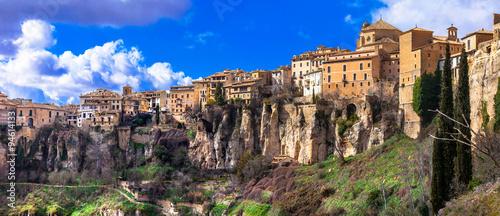 panorama of Cuenca - medieval town on rocks, Spain