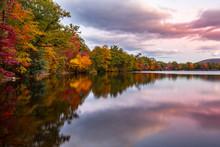 Fall Foliage Reflects In Hessian Lake At Sunset, Near Bear Mountain, NY