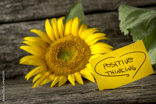 Fotografie, Obraz  Positive thinking message next to a beautiful blooming yellow su
