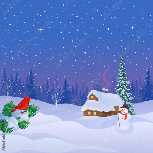 Tuinposter Purper Winter cabin scene