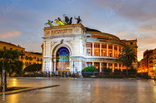 Palermo City in Sicily, Italy. Politeama Theater