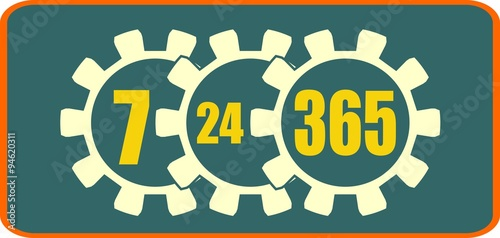Fotografia, Obraz  timing badge symbol 7, 24, 365 in gears. customer support service