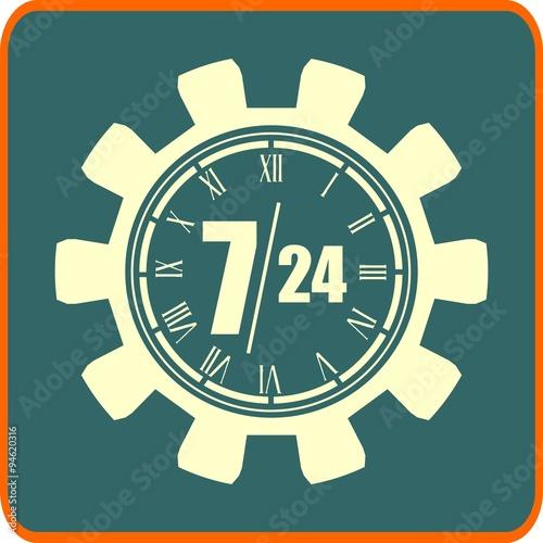 Fényképezés  timing badge symbol 7, 24 in gear. customer support service