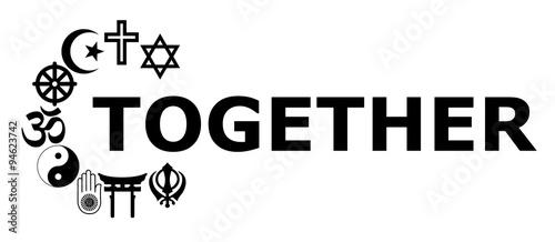 Fotografie, Obraz  Together Religious symbols