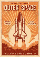 Vintage Space Poster With Shut...